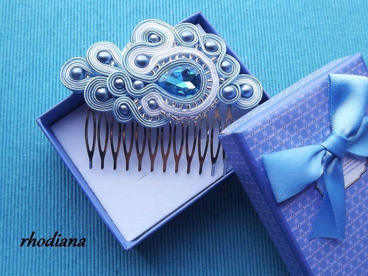 Obłędny TURKUS grzebień do włosów w pudełku w rhodiana na DaWanda.com