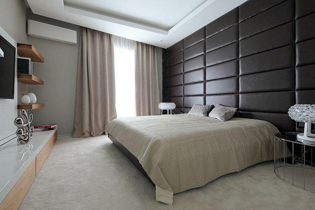 Leder Bett Kopfteil Gestaltung Ideen Wand