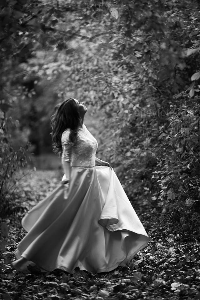 Made to Measure Blush Wedding dress with hand sewn lace detail  Zsófi Raffay photography