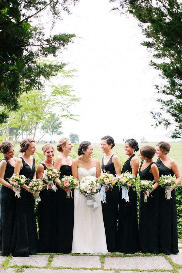 Bridesmaids in timeless black dresses...Photography by katiestoops.com, Floral Design by hanafloraldesign.com