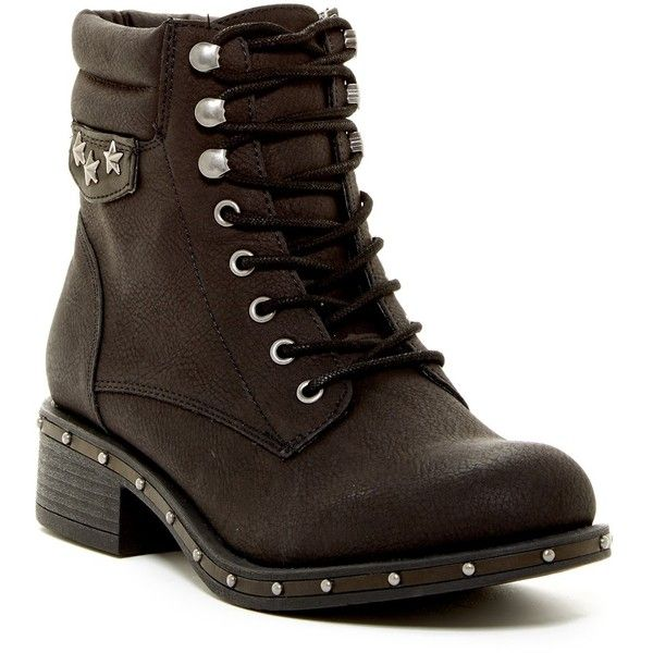 Rock & Candy Joli Studded Military Boot (335 SEK) ❤ liked on Polyvore featuring shoes, boots, black o, lace up boots, studded combat boots, laced up boots, army boots and combat boots