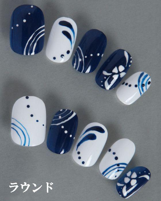 デザインネイルチップ・つけ爪ゆずネイル|ネイルチップ ホワイト 濃ブルー 花 浴衣(B02094-R-NB)の販売|ゆずネイル公式通販