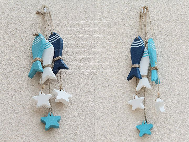AIBEI-3D Stickers Mediterranean Style Fish Hung 3pcs Set Nautical Decor Hang Adorn Wholesale Wooden Crafts free Shipping