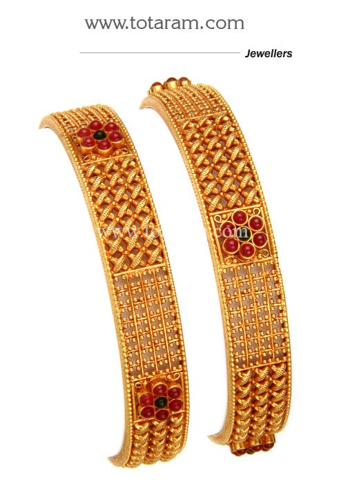 22K Fine Gold Bangles (Temple Jewellery) - Set of 2 (1 Pair) - GBL1087 - Indian Jewelry Designs from Totaram Jewelers