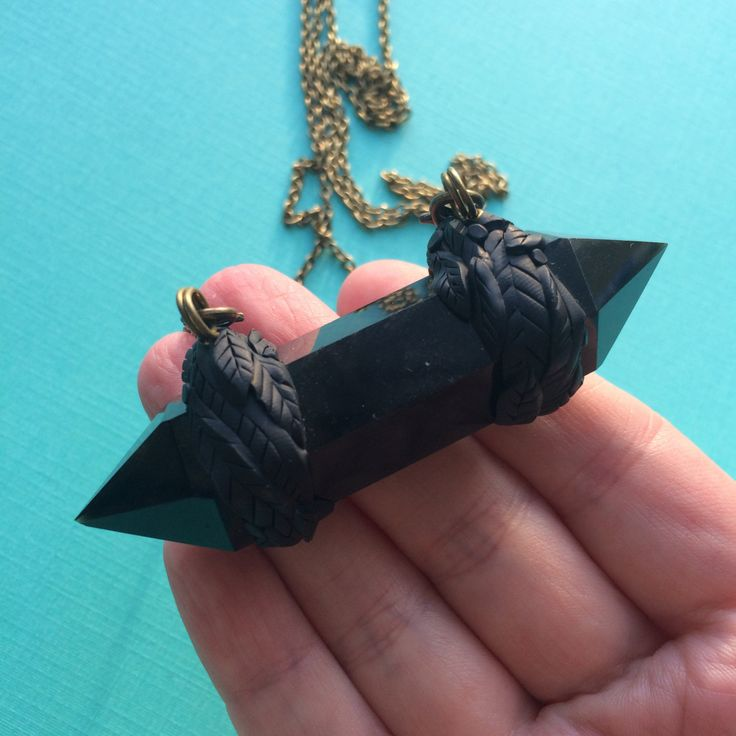 "Double Terminated Black Obsidian Clay Leaf Necklace - 35"" Long by JLPdesigns on Etsy"