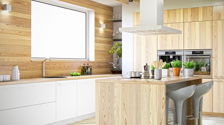 Biała kuchnia w drewnie z okapem wyspowym Nomina Isola White, www.globalo.pl