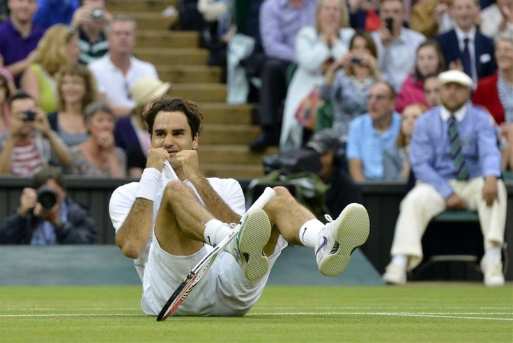 Roger Federer after his historic win at Wimbledon 2012. His 7th Wimbledon title and he reclaimed the number 1 position.