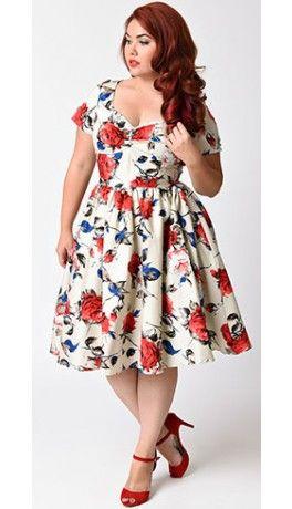 Unique Vintage Plus Size 1950s Style Beige & Floral Short Sleeve Draper Swing Dress