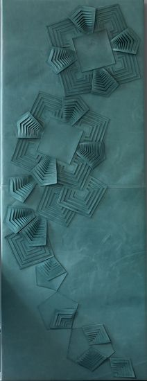 intriguing...sculpted leather wall panel by Genevieve Bennett/Deco.  Love this.  Quilt maybe?