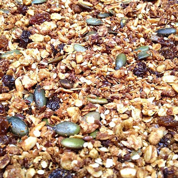This delicious toasted muesli uses only honey, cinnamon and dried fruit to create a yummy, sweet-tasting and crunchy nut free granola. Submitted by Belinda Lewis for a previous recipe competition.