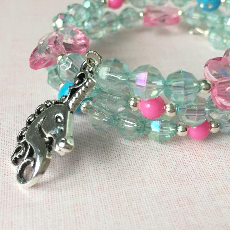 Unicorn pink and blue bracelet for girls.