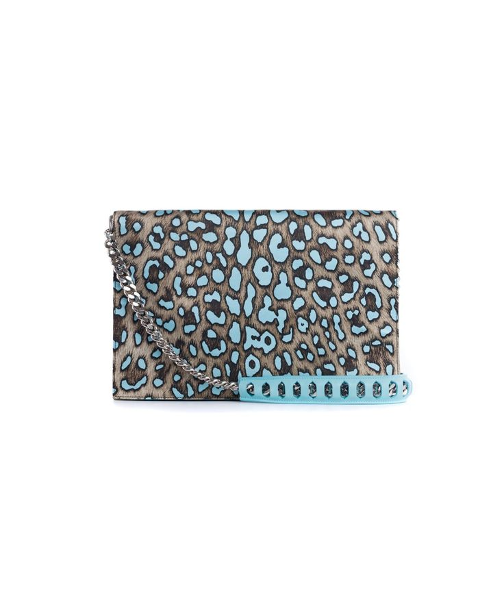 ROBERTO CAVALLI Roberto Cavalli Women's Large Blue Cheetah Print Juno Clutch. #robertocavalli #bags #animal print #leather #clutch #shoulder bags #lining #hand bags #silk #