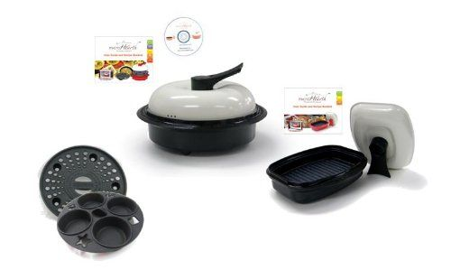Microhearth C11BC4-G03BS2 6-Piece Microwave Cookware Set with 4-Piece Everyday Combo Set and 2-Piece Grill Pan Set, Black ** You can get additional details at the image link.