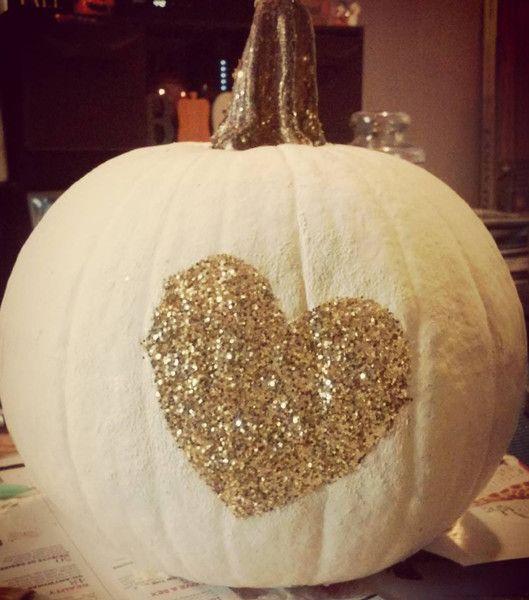 Glitter Heart Pumpkin - 101 Fabulous Pumpkin Decorating Ideas - Photos