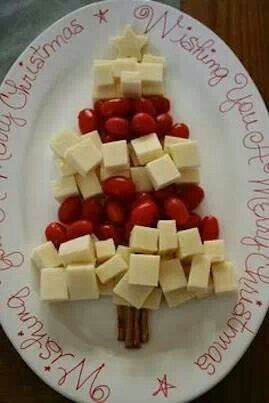 Cheese and tomatoes as Christmas tree appetizer