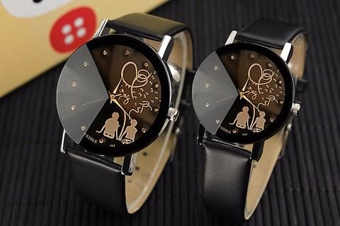 YAZOLE Printed Pair Watch for Couple with Leather Strap