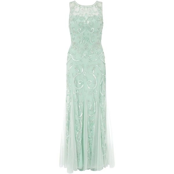 Ariella Karla Sequin And Beadwork Gown, Sage (1.895 HRK) found on Polyvore featuring women's fashion, dresses, gowns, long dress, maxi dresses, plus size long evening dresses, green maxi dress, plus size gowns and sequin gown