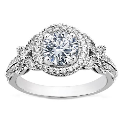 Perfect Vintage Style Round Diamond Halo Butterfly Engagement Ring