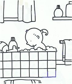 kleurplaat kind in bad