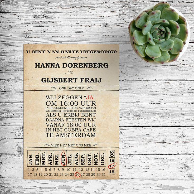 Trouwkaart Ticket: De stijl en het gevoel van deze trouwkaart zijn gebaseerd op echte, authentieke tickets van vroeger. Typografisch vormgegeven.