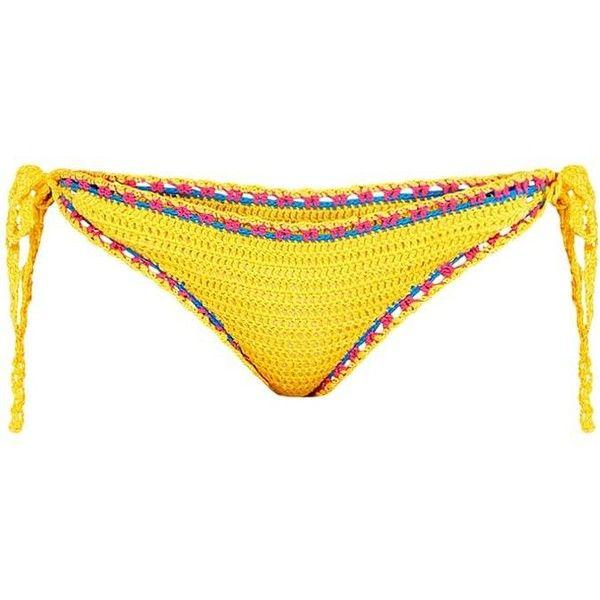 Yellow Crochet Bikini Bottoms ($18) ❤ liked on Polyvore featuring swimwear, bikinis, bikini bottoms, bathing suits, yellow bikini, yellow bikini bottoms, bathing suits two piece, yellow swimsuit and crochet swimsuit