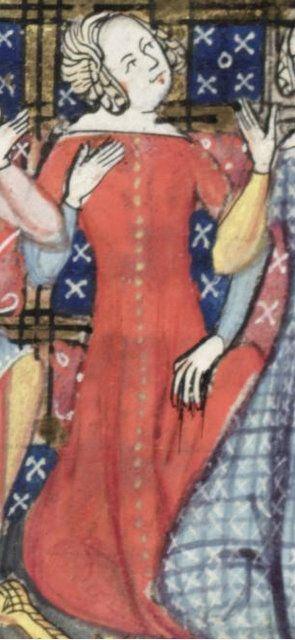 Roman de la rose, XIVe siècle cottehardie rouge avec bouton sur le devant sur toute la hauteur