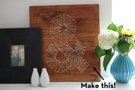 DIY Idea: Make a Decorative Ampersand!  Valkoinen pohja, punaista lankaa ja sydämen muotoon isänpv/äitienpv/joulu. Tai oma etukirjain?
