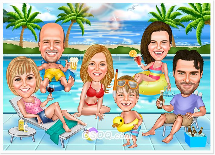 Big Family Group Caricatures Caricature Custom Cartoons Cartoon