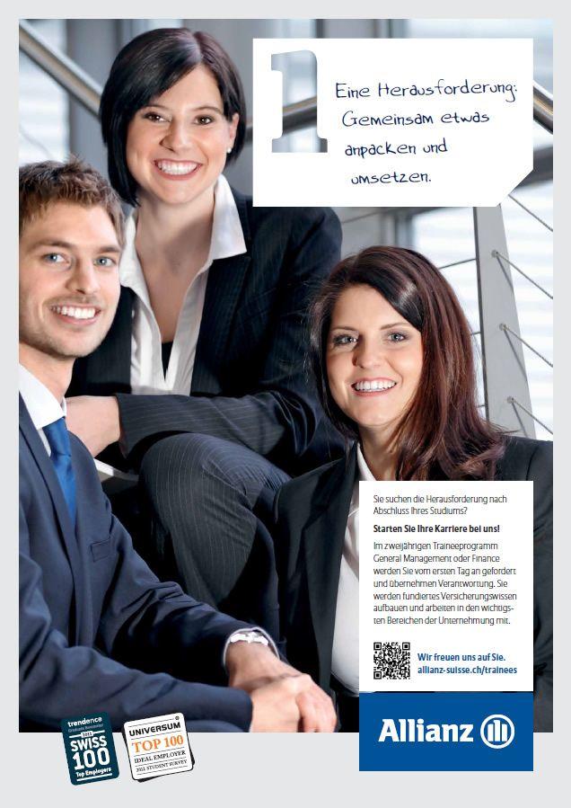 Gemeinsam etwas anpacken und umsetzen: http://www.allianz.ch/karriere