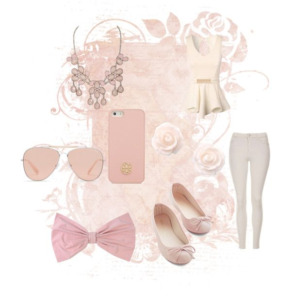 Light Pink Outfit by edithtoth on Polyvore featuring Jane Norman, Topshop, Bally, PINK BOW and Tory Burch