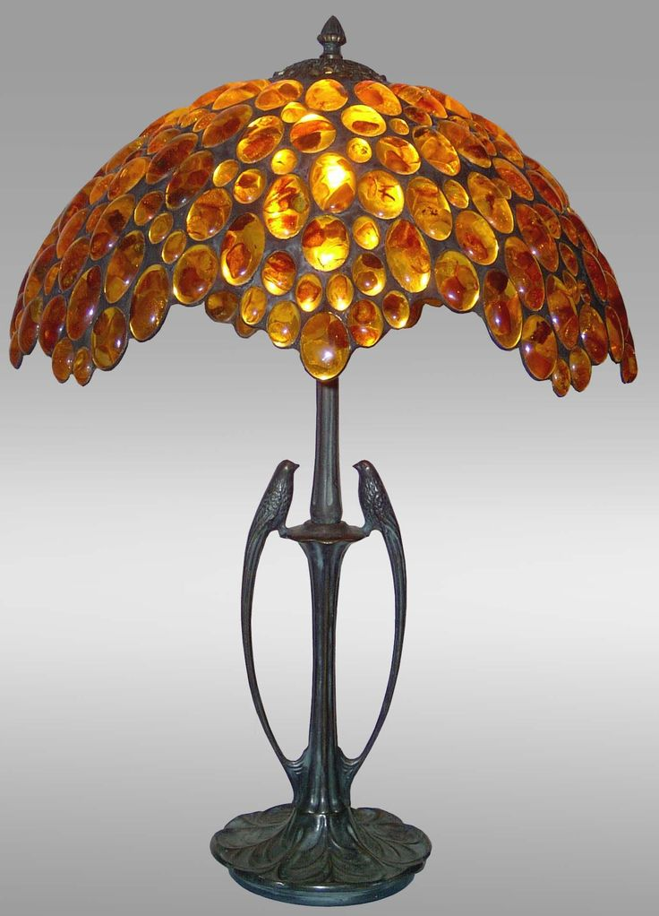 Luxury Tiffany Lamp   Amber Table Lamp Large Birds   Lamp With Solid Brass  Stand