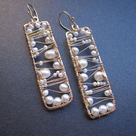 14k gold filled ivory pearl wire wrapped rectangle abstract earrings