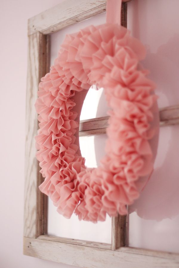 Ruffle Wreath - easy decor for baby showers (just make one pink, one blue and store for when needed!)  For me, I'm thinking a darker ivory with an antique broach.