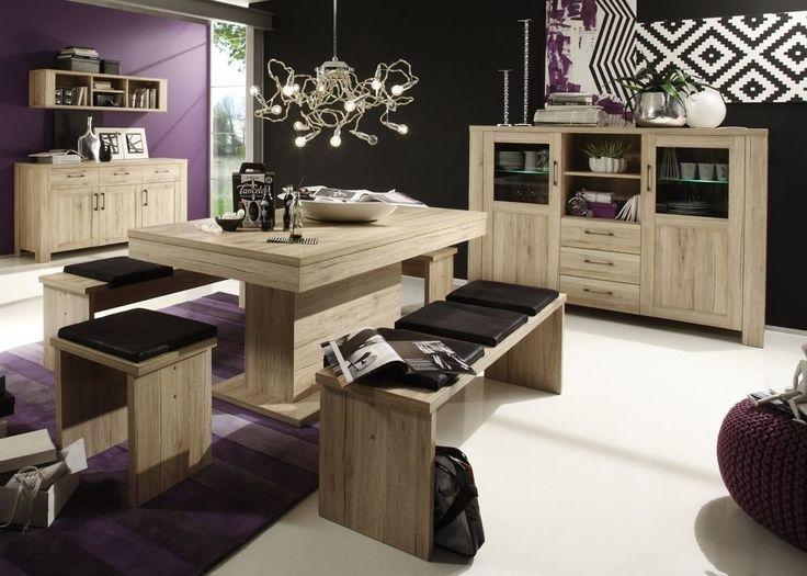 Esszimmermöbel Lupo 4-tlg Eiche Sanremo Hell 7651 Buy now at - esszimmer mit eckbank einrichten