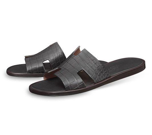 Hermès Imzir sandals in graphite alligator.