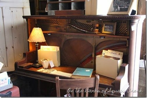 Old piano upcycled to a desk. Love! #recycle #repurposed