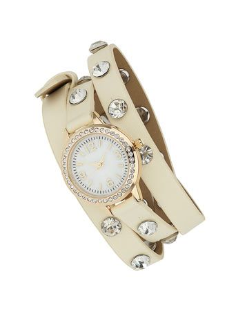 Cream Stone Wrap Around Watch