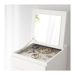 IKEA - MALM, 6-drawer chest, white/mirror glass, , Of course your home should be a safe place for the entire family. That's why hardware is included so that you can attach the chest of drawers to the wall.Built-in mirror.There's a felt-lined compartment beneath the mirror that's perfect for storing your watches and jewelry.This high chest gives you plenty of storage without taking up too much room.Smooth running drawers with pull-out stop.