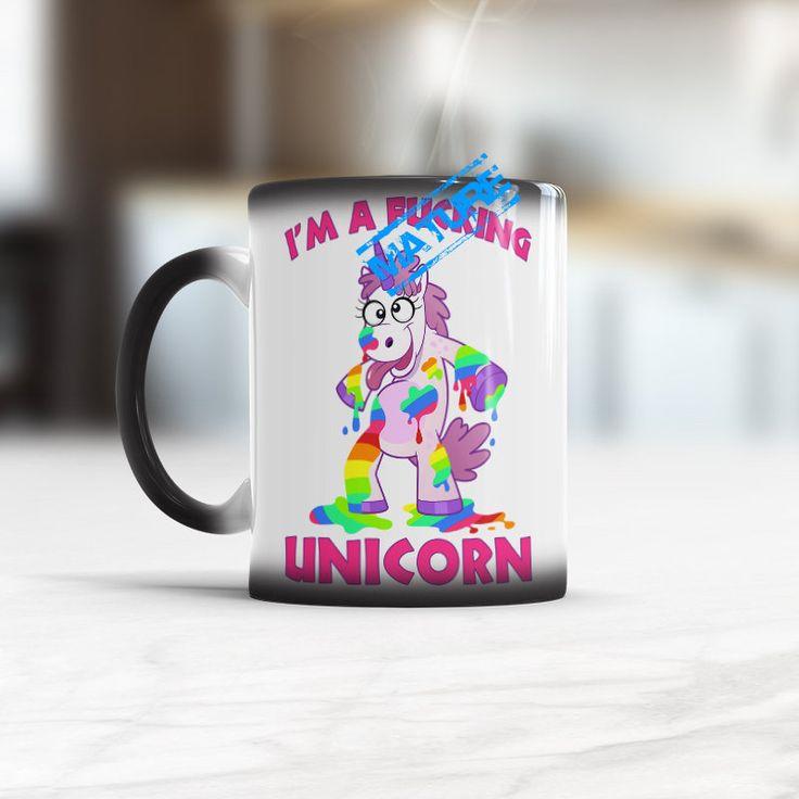 I'm a F*cking Unicorn, Unicorn Mugs, Unicorn Mug Changes With Heat, funny juiced drunken unicorn mug, drunk unicorn mug, stag party,