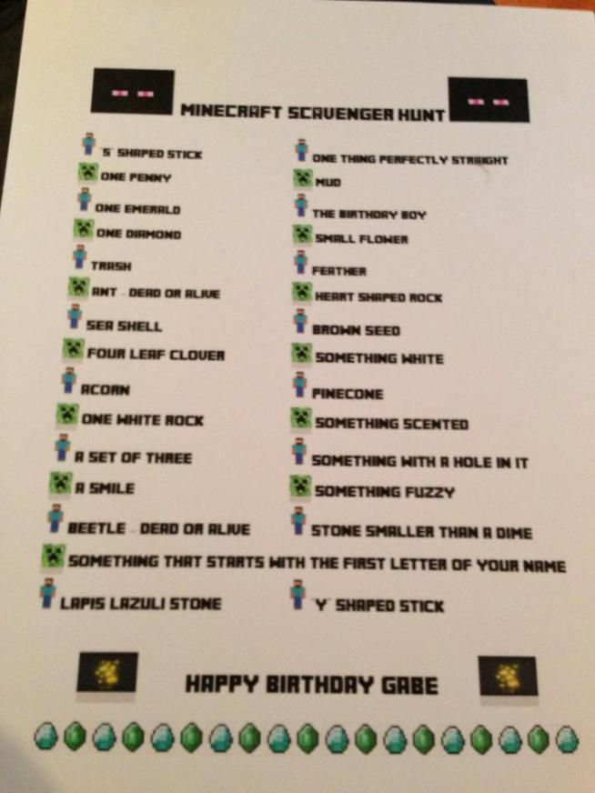 Minecraft Birthday Party Scavenger Hunt                                                                                                                                                                                 More