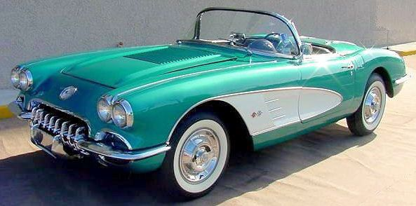 '58 Corvette - Chrome front trip option, double bezel headlights, a thing of beauty! My all time favorite!