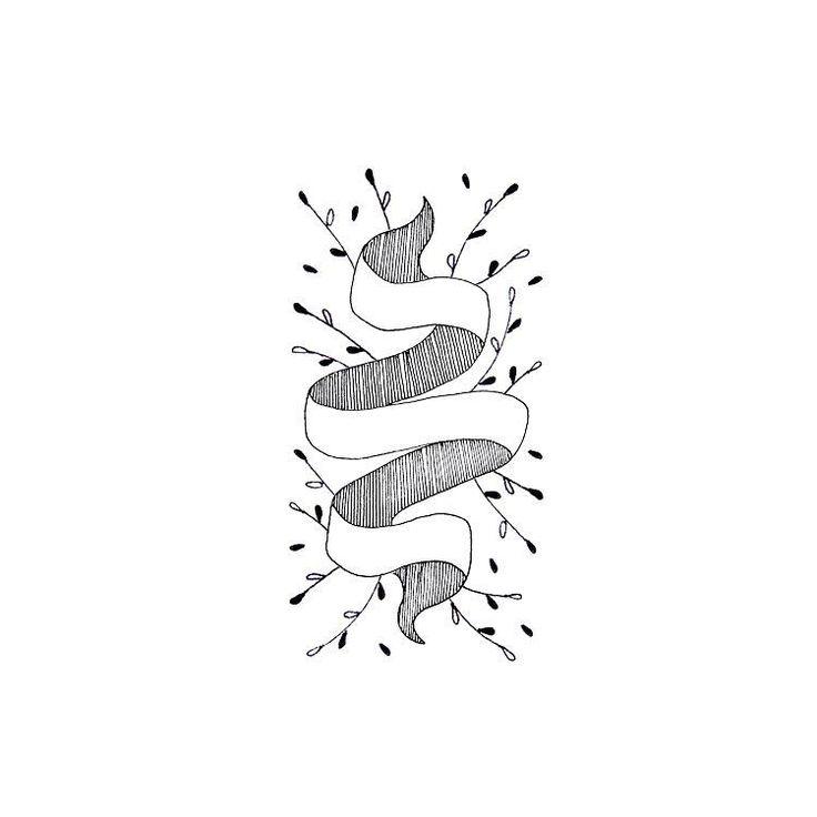 Leafy ribbon illustration. #illustration #sketch #fineliner #leafy #leaves #ribbon #botanical