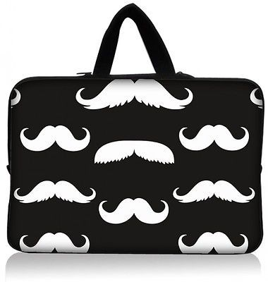 """Cute Moustache  Laptop Sleeve Case Bag  For 15 15.6"""" HP Dell PC Free Size"""