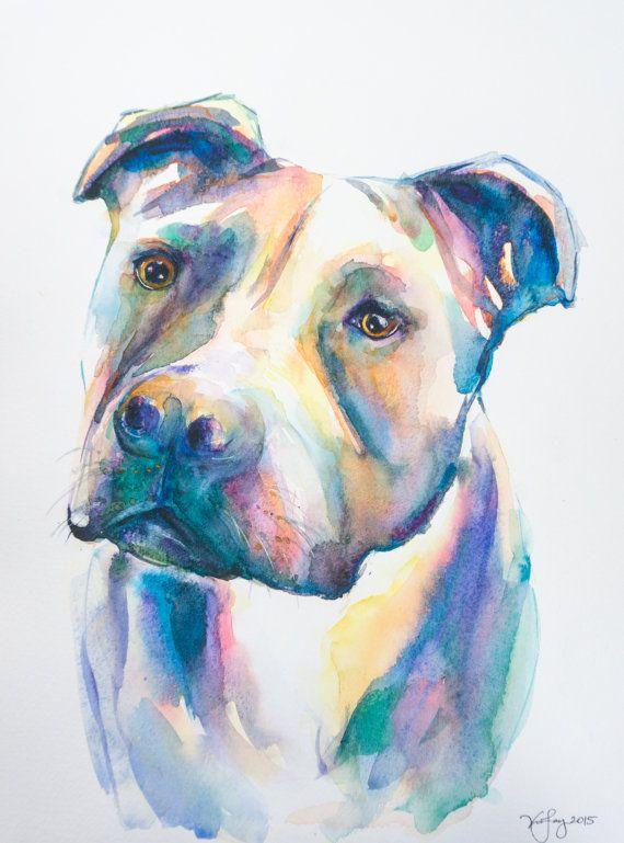 ORIGINAL Pitbull Watercolor Painting wall by EbbAndFlowWatercolor