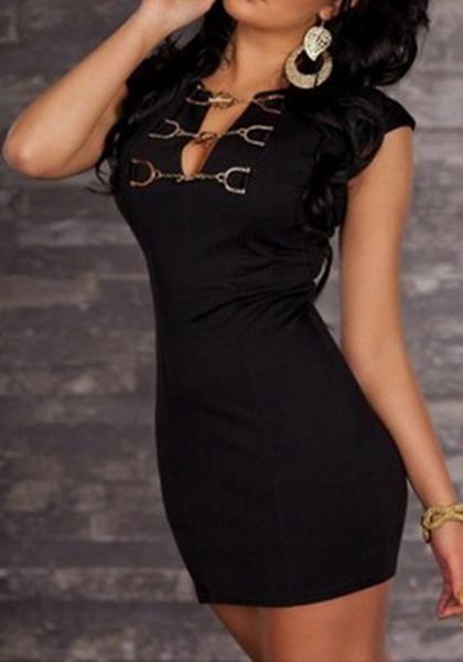 d0141de98df Black Plain Hollow-out Chain V-neck Mini Dress
