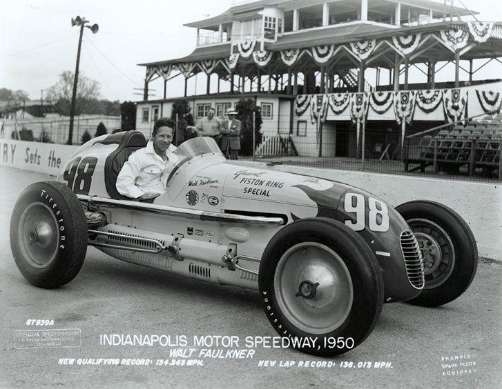 1950 pole winner walt faulkner indy car racing
