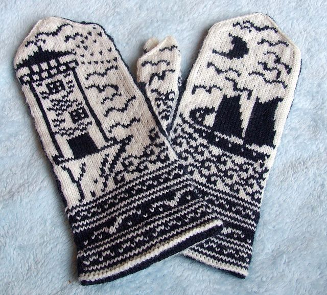 """Ravelry: Moonlit Coast Mittens pattern by Erica Mount A perfect complement to a recent reading of """"Ahab's Wife."""""""