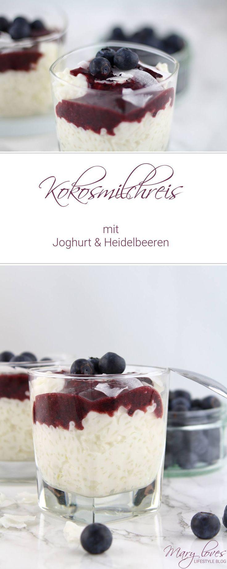 Kokosmilchreis mit Joghurt und Heidelbeeren - #Dessert #Nachtisch #Milchreis #Heidelbeeren #Kokosmilchreis