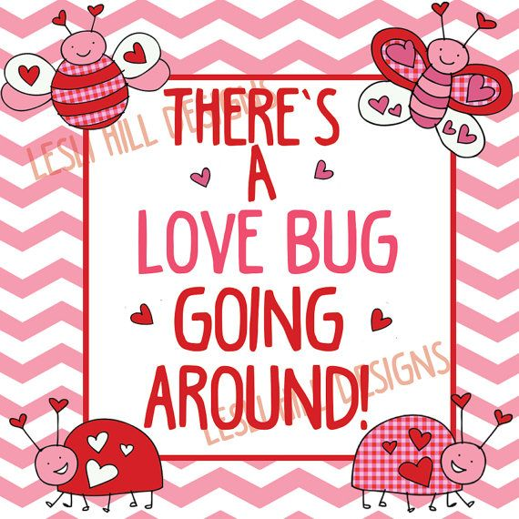 Printable Label for Hand Sanitizer Bottles. Cute Valentines Love Bug Label.