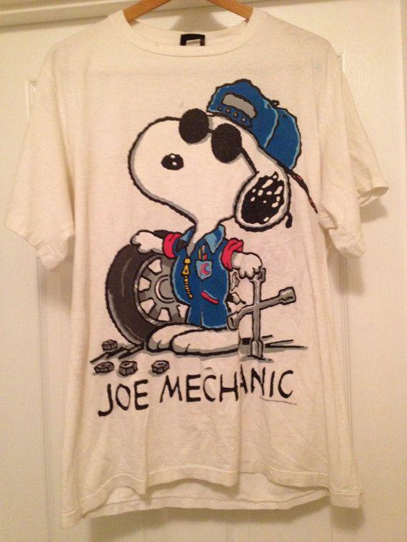 Joe Cool Snoopy Double Sided Mechanic TShirt by RocknRollRetro